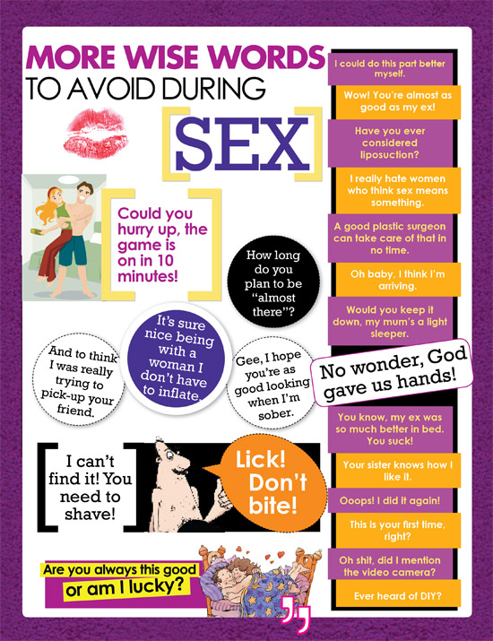 Funny Sex Words to Avoid in Bed - Things Men Must not Say in Bed with a Woman